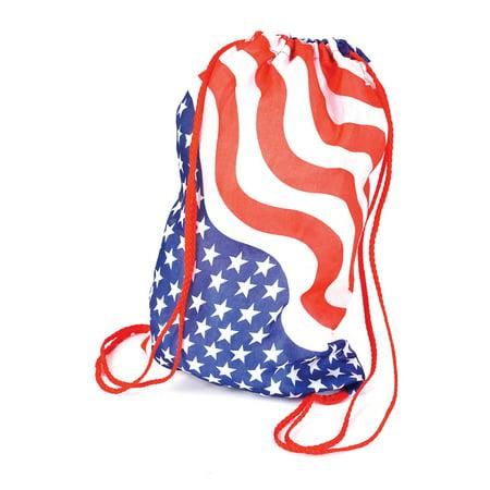 Stars & Stripes Drawstring Back Pack 15 Carrying Bag, Red White Blue White Carrying Bag