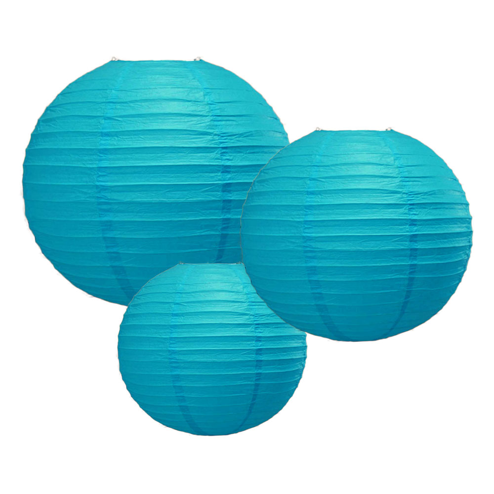 "8/12/16"" Turquoise Round Paper Lanterns, Even Ribbing (3-PACK Cluster)"