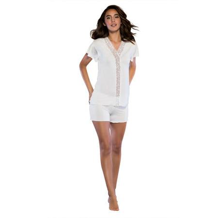 d93d748147 Women s Sleepwear Lightweight Super Soft Bamboo Short Lace Trim Pajama Set  - Made in Turkey (Medium