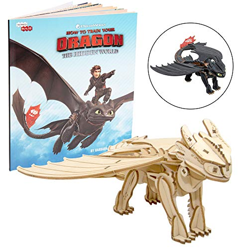 DreamWorks How to Train Your Dragon: Hidden World Toothless Book and 3D Wood Model Kit - Build, Paint and Collect Your Own Wooden Model - Great for Kids and Adults, 8+ - 7""