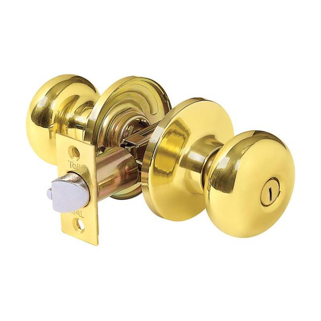Tell Manufacturing 5005869 Parkland Bright Brass Metal Privacy Knob for 3 Grade