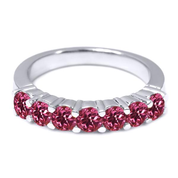 1.05 Ct Round Pink VS Tourmaline 14K White Gold Wedding Band Ring by