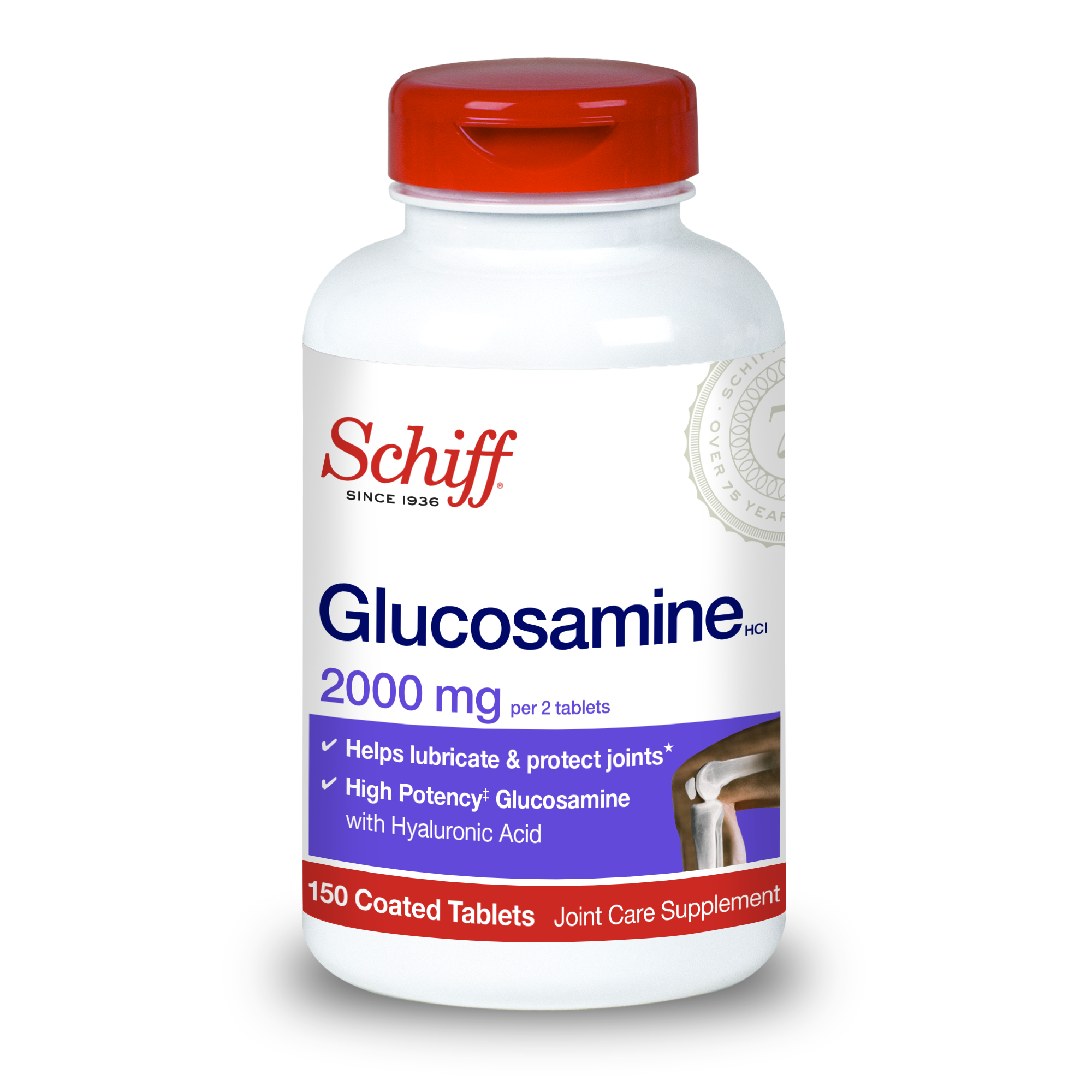 Schiff Glucosamine 2000mg with Hyaluronic Acid, 150 tablets - Joint Supplement