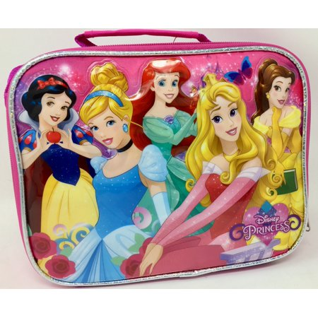 Disney 6 princess Snow White Cinderella Belle Aurora Ariel Rapunzel Insulated Lunch Bag - White Lunch Bags