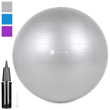 Best Choice Products 65cm/26in Anti-Burst Exercise Fitness Stability Balance Yoga Ball Office Chair w/ Anti-Slip Ridges, Hand Pump, Extra Air Plug - Silver