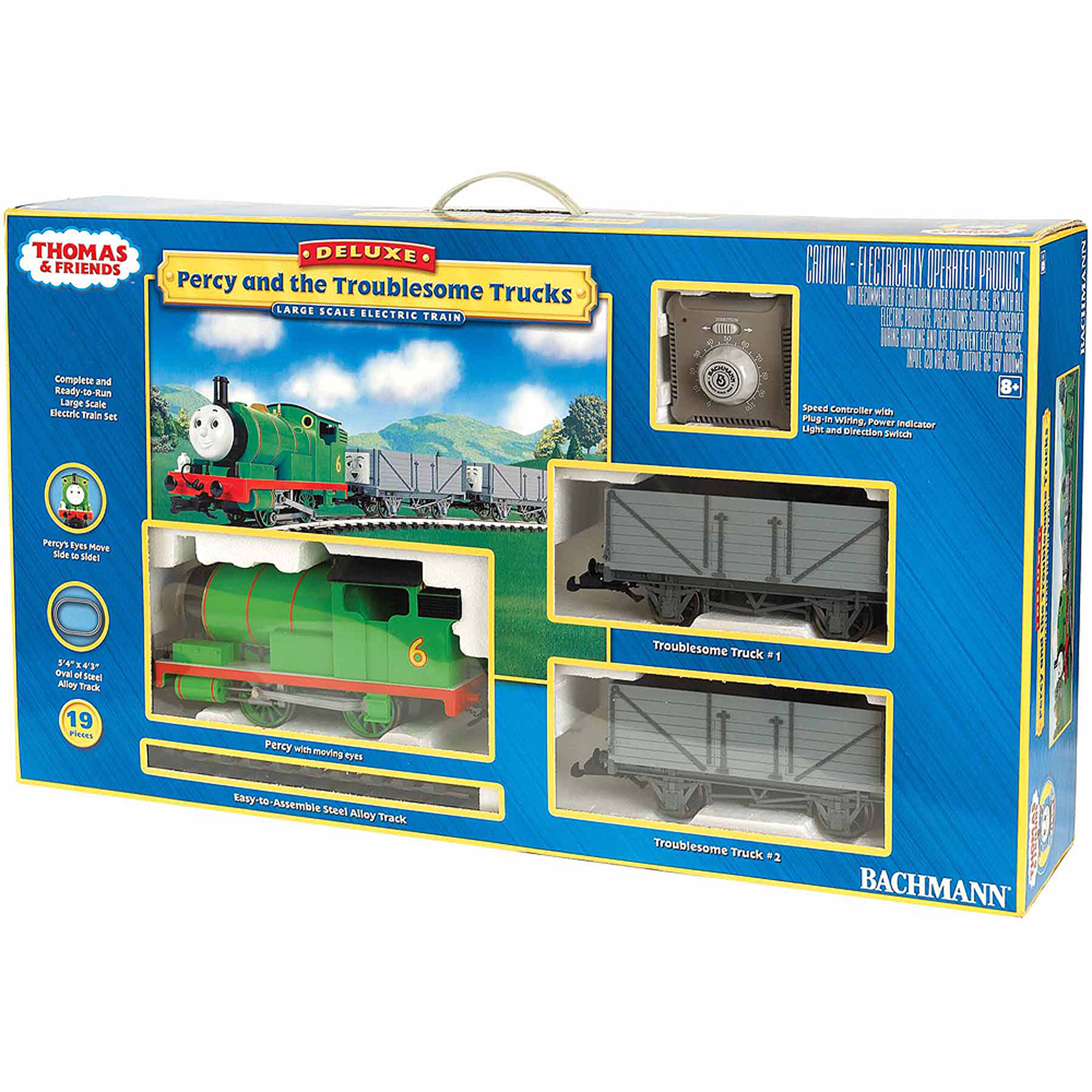 "Bachmann Trains Thomas and Friends Percy And The Troublesome Trucks , Large ""G"" Scale Ready-to-Run Electric Train Set"