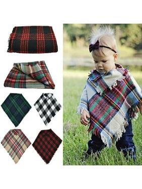Kids Baby Girls Boys Hooded Knitted Winter Warm Cape Cloak Wrap Outwear Shawl