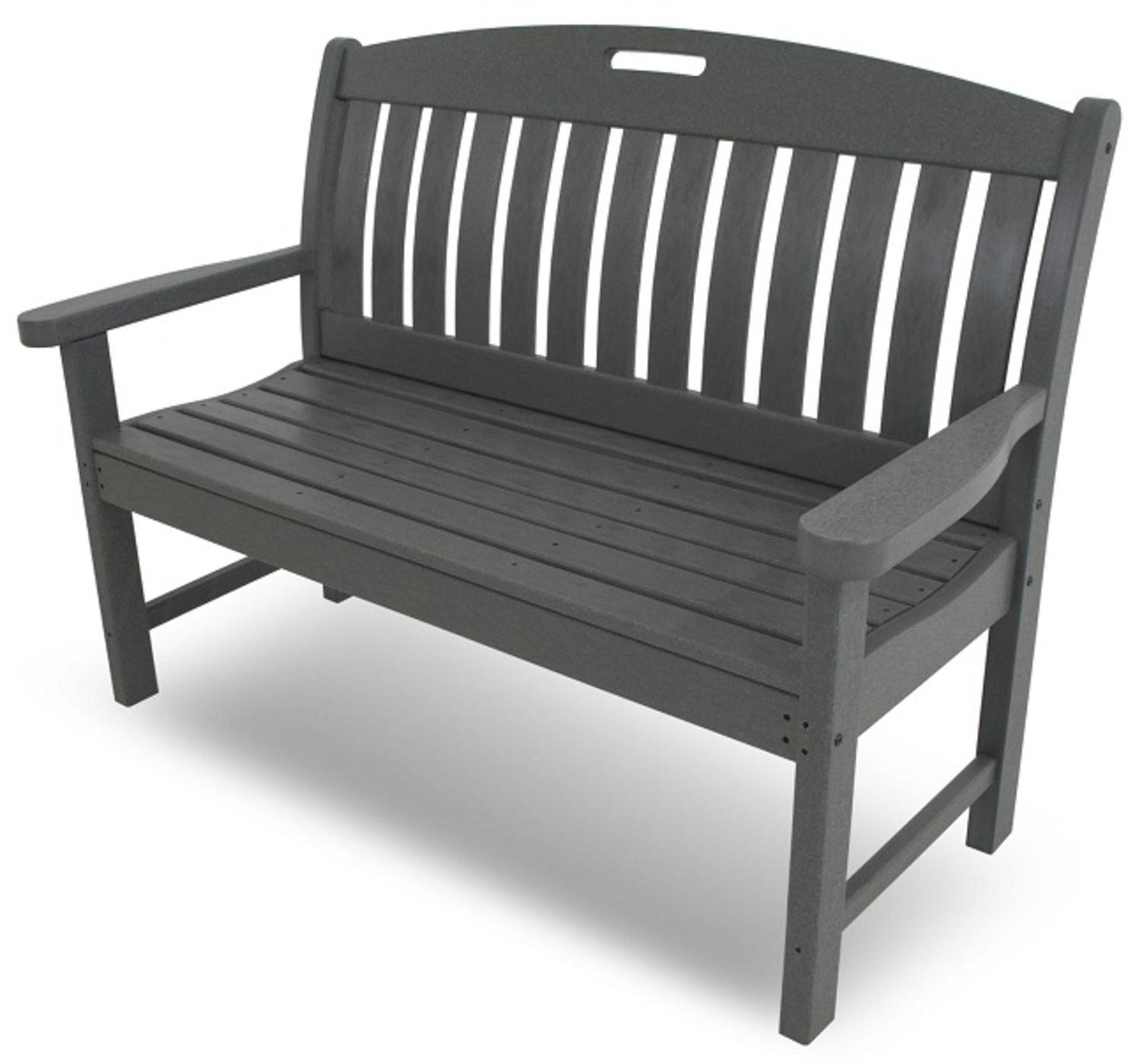 "51.75"" Earth-Friendly Recycled Outdoor Patio Garden Bench - Slate Gray"