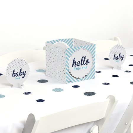 Hello Little One - Blue and Silver - Boy Baby Shower Party Centerpiece & Table Decoration Kit