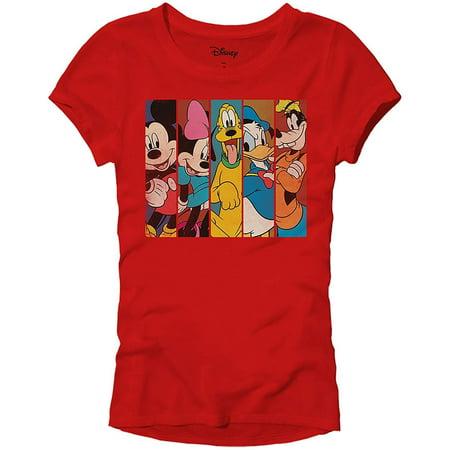 Disney Mickey Minnie Mouse Pluto Donald Duck Goofy Panels World Disneyland Funny Women's Juniors Slim Fit Adult Graphic Tee T-Shirt Red](Halloween En Disney Junior)