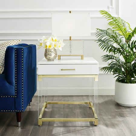 Alena White End Table - 1 Drawer | High Gloss | Acrylic Legs | Gold Stainless Steel Base | Modern