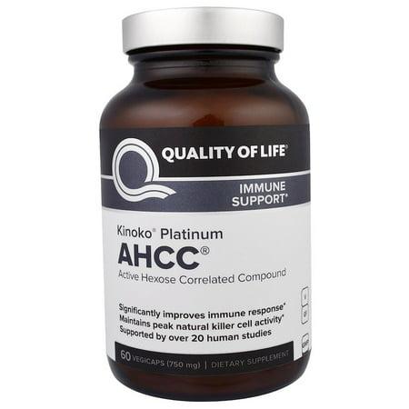 Quality of Life Labs, Kinoko Platinum AHCC, Immune Support, 750 mg, 60 Veggie Caps(Pack of 2) (Kinoko Platinum Ahcc 750 Mg)
