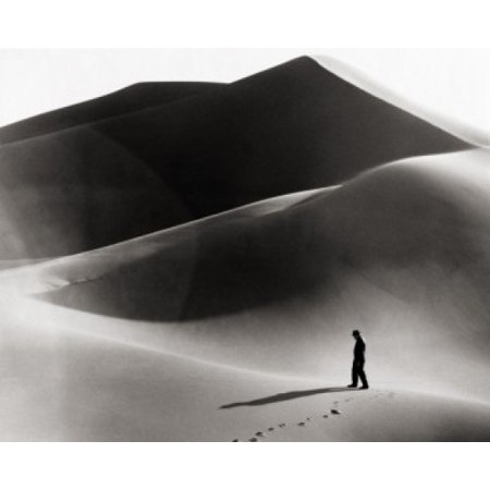High Angle View Of A Man Walking In The Desert Death Valley National Park California Usa Canvas Art     24 X 36