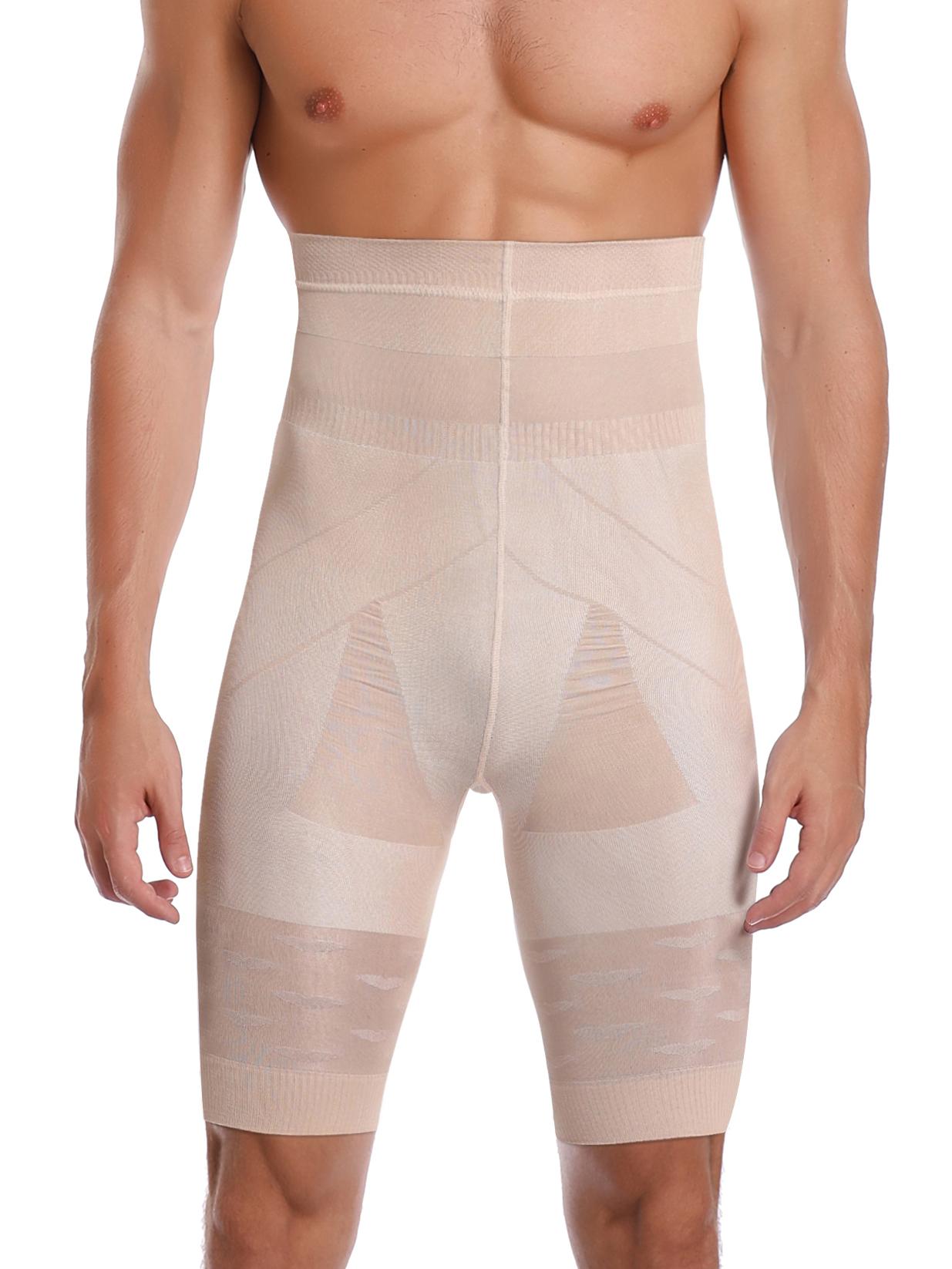 Mens Compression Slimming Body Shaper Girdle Pants High Waist Boxer Shorts Tummy