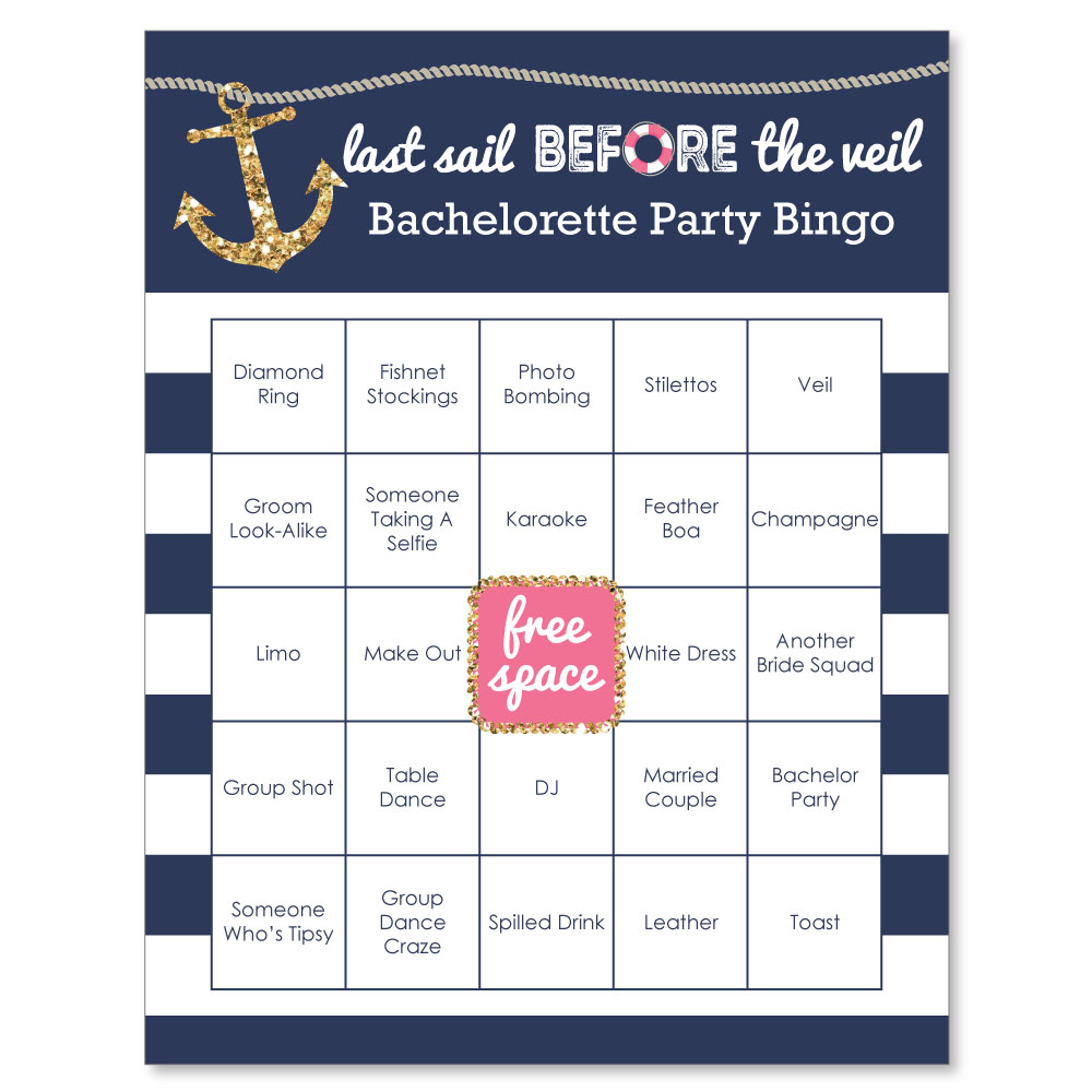 0a9c5a95c9 Last Sail Before The Veil - Nautical Bachelorette Bingo Game & Bar Bingo  Game Cards - 16 Count - Walmart.com