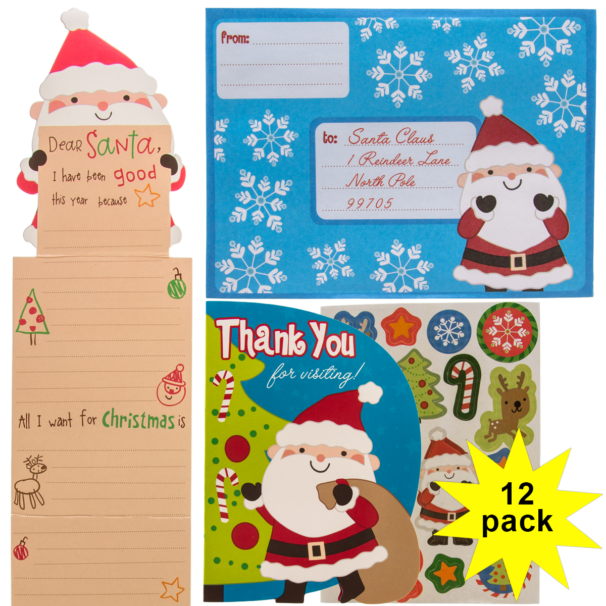 Paper Crafts (12 Pack) Kids Letters to Santa Kits: Christmas Wish List, Stickers, Thank You Cards & Envelopes, Party Favor Bulk Set