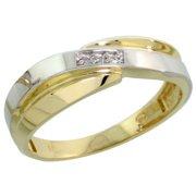 10k Yellow Gold Ladies Diamond Wedding Band Ring Women 0.02 cttw Brilliant Cut 1/4 inch 6mm wide Size 5