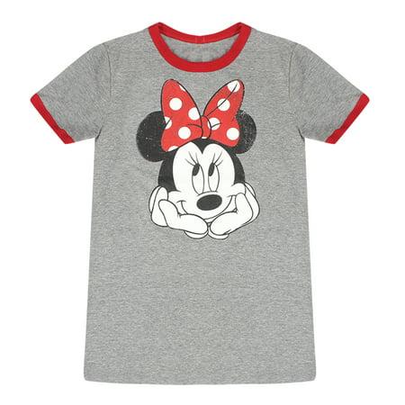 87c7a9fa8560 Disney - Disney Coquette Minnie Mouse Face Women's Grey Ringer Tee -  Walmart.com