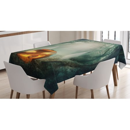 Halloween Decorations Tablecloth, Scary Halloween Pumpkin Enchanted Forest Mystic Twilight Party Art, Rectangular Table Cover for Dining Room Kitchen, 52 X 70 Inches, Orange Teal, by Ambesonne](Halloween Art Pumpkins)