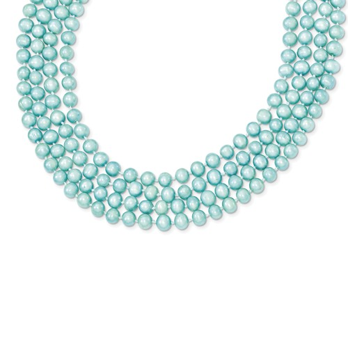 10in 5.5-6mm Freshwater Cultured Blue Pearl Single Strand Necklace.
