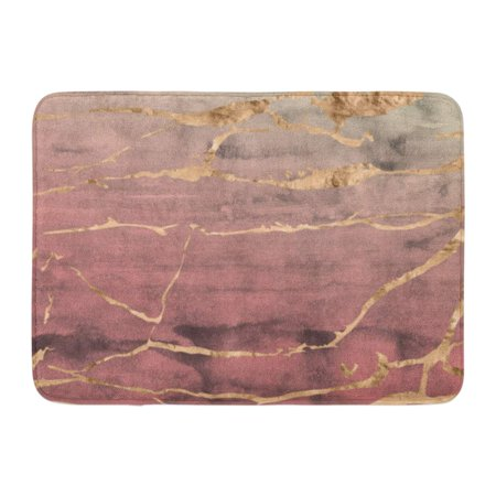 GODPOK Cracked Abstract Rose Gold Metallic Marble Design Overlaid on Hand Watercolor in Ombre Quartz Pink Agate Rug Doormat Bath Mat 23.6x15.7 inch