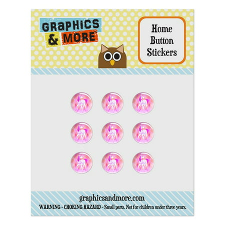 Geometric Unicorn Pink Fantasy Home Button Stickers Set Fit Apple iPhone iPad iPod Touch