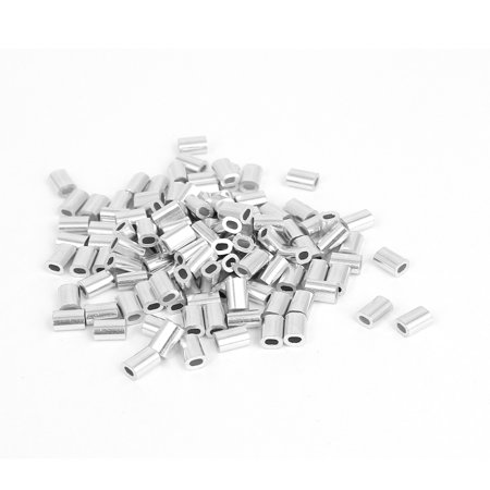 "Unique Bargains 0.8mm 1/32"" Steel Wire Rope Aluminum Ferrules Sleeves Silver Tone 100 Pcs"