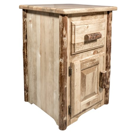 Glacier Country Collection End Table w/ Drawer & Door, Left Hinged - Hinged Door Table
