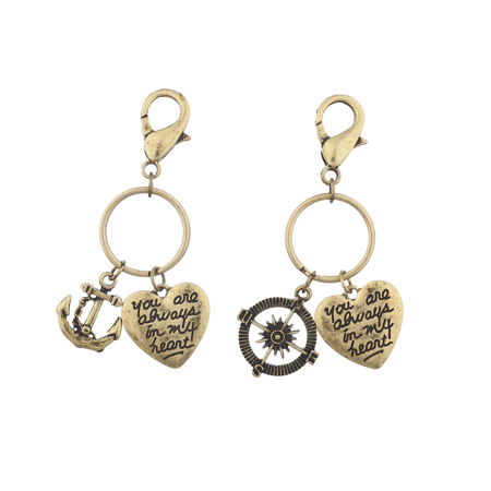 Lux Accessories Burnish Gold Nautical Your Always in my Heart Charm Keychain (Gold Heart Keychain)