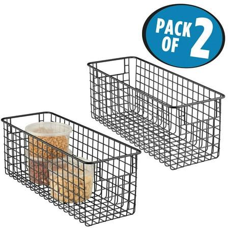 338bba0992301 mDesign Deep Wire Storage Basket for Kitchen