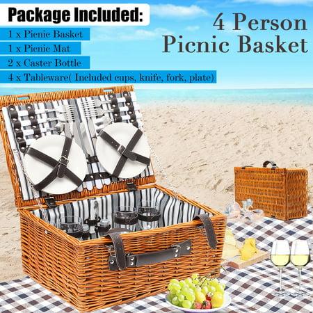 4 Person Deluxe Wicker Picnic Box Basket Hamper Set W  Blanket Mat   Tableware   Included Cups  Knife  Fork  Plate  2X Caster Bottle