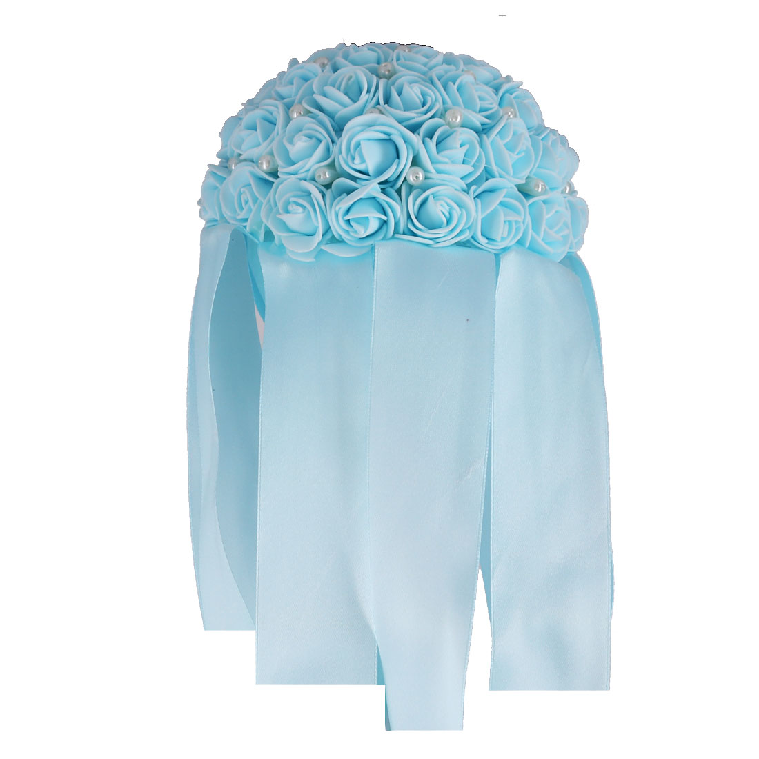 Bridal Wedding Foam Rose Flower Ribbon Beads Decor Handhold Bouquet Light Blue