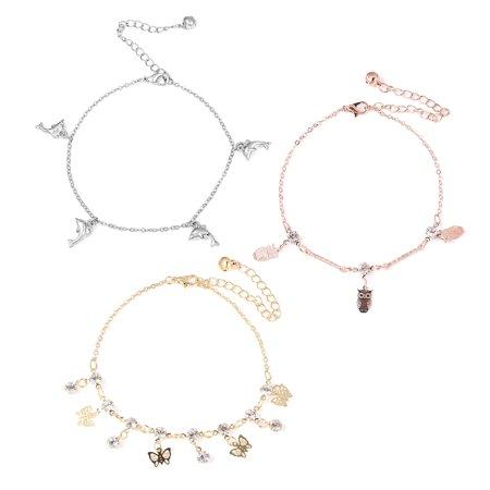 Set of 3 Anklet Round White Crystal Rosetone & Goldstone Jewelry for Women (Goldstone Anklet)