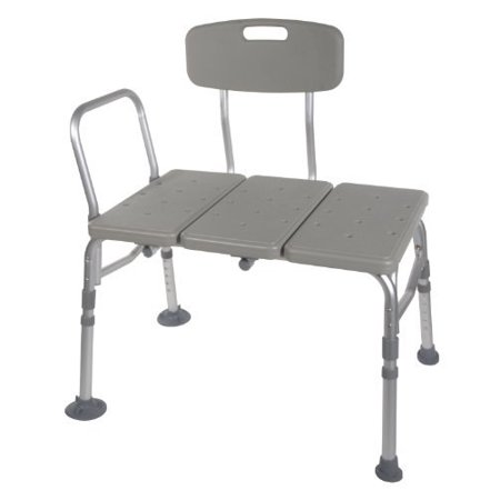 Transfer Bench Adjustable Height Legs Lightweight Plastic Benches For Bath Tub And Shower With Back Non Slip Seat Gray