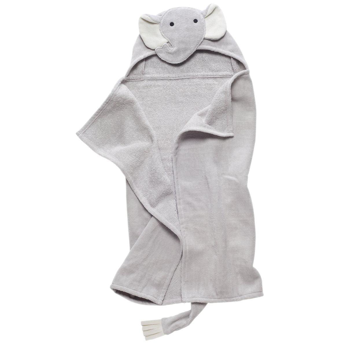 Elegant Baby Bath Time Gift Hooded Towel Wrap Gray Elephant