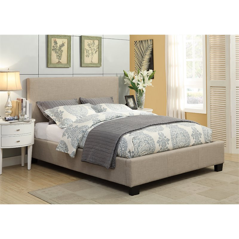 Modus Geneva Upholstered Queen Platform Storage Bed in Toast by