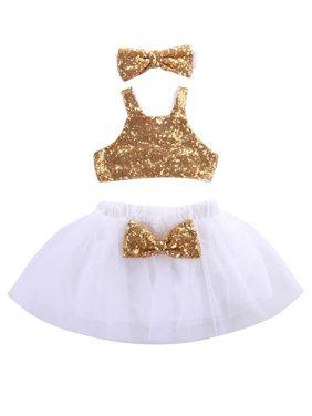 Infant Newborn Baby Girls Princess Sequins Tops+Tutu Skirt Headband 3pcs Outfit Set Dress
