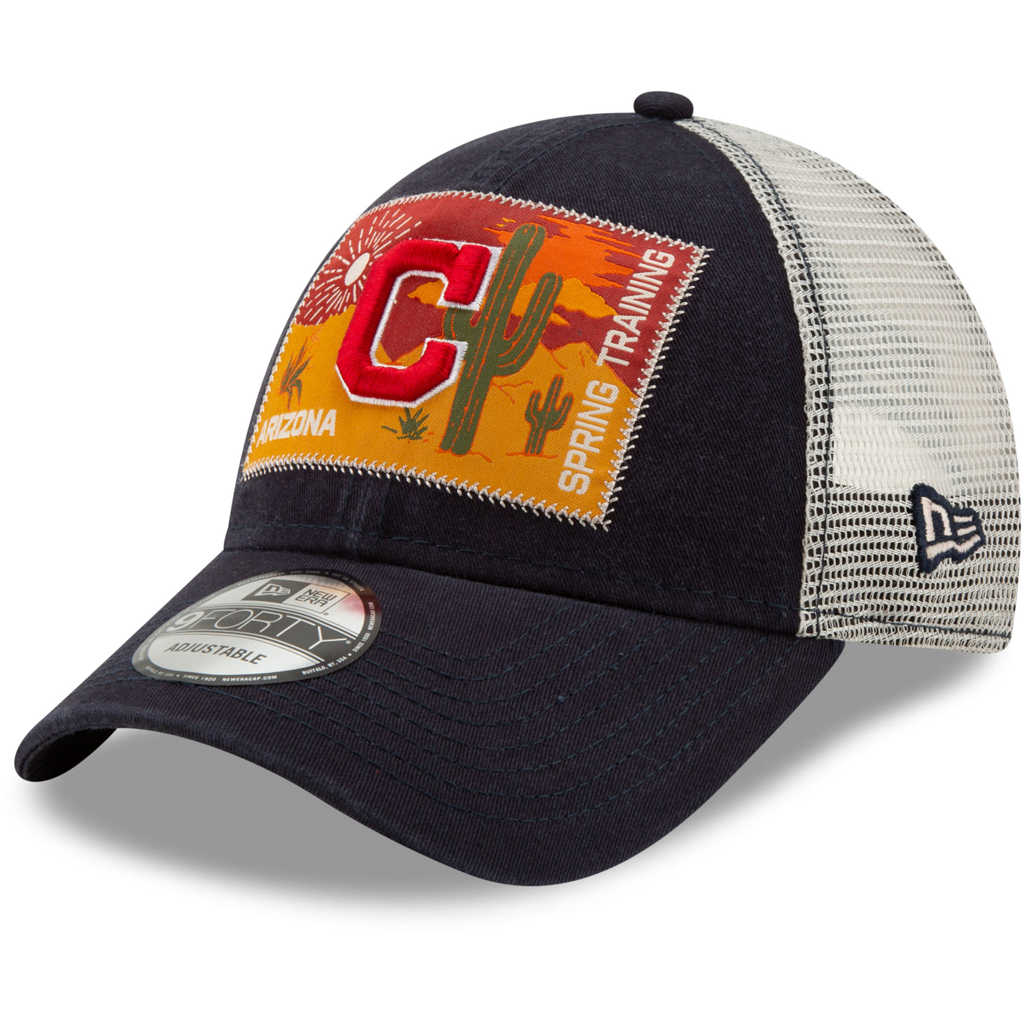 Cleveland Indians New Era Patched Trucker 3 9FORTY Adjustable Snapback Hat - Navy/White - OSFA