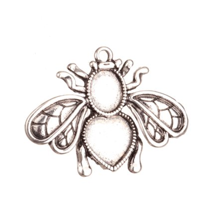 Pendant trays, Antique-Silver Plated Bee With Round And Heart Cabochon Setting 32x42mm With 8.5x10.5mm And 12x11.5mm Mount