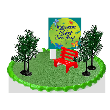 Day at the Park Bench and Trees Cake Decoration - Diy Cake Topper