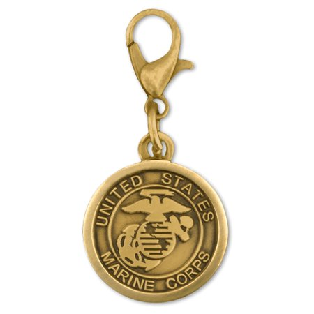 PinMart's Antique Gold and Silver USMC Marine Corp Logo Patriotic Military (Medium Logo Charm)