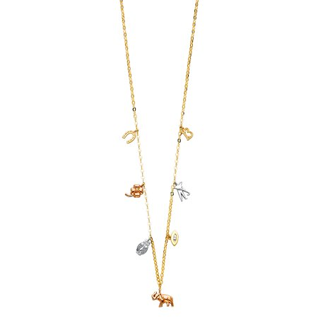 Ioka - 14K Tri Color Gold Lucky Symbol Charms Necklace with Horseshoe Clover Owl Evil Eye Elephant - 17+1""