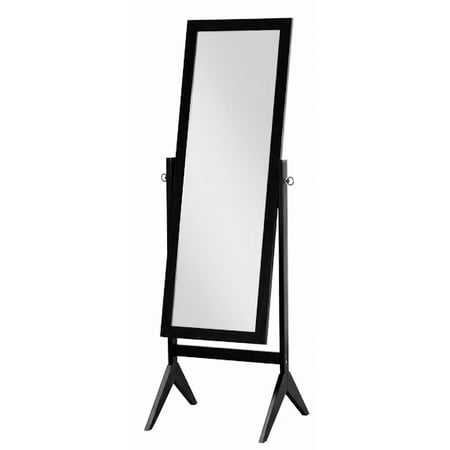 Black Finish Wood Rectangular Cheval Floor Mirror, Free Standing Mirror
