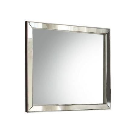 ACME Voeville II Wooden Frame Mirror in Platinum Silver Frame Platinum Mirror Lens