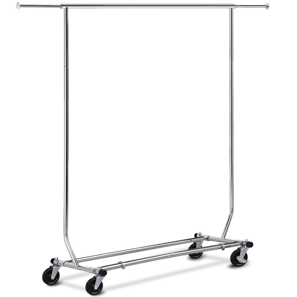 Yaheetech Clothing Garment Rack Commercial Premium Stainless Steel Heavy  Duty Adjustable Collapsible Chrome