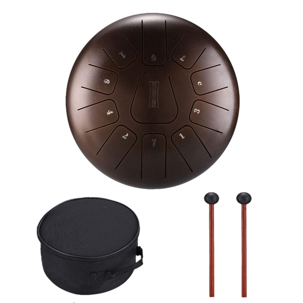 C Major 11 Notes Hand Pan Handpan Tongue Tank Drum 12 Inch Percussion, Tongue Drum, Handpan Drum with Mallets & Bag