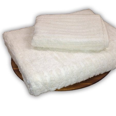 Murphy Bamboo Soft Cotton Plush Bamboo Ribbed 28in x 16in Hand Towel Natural