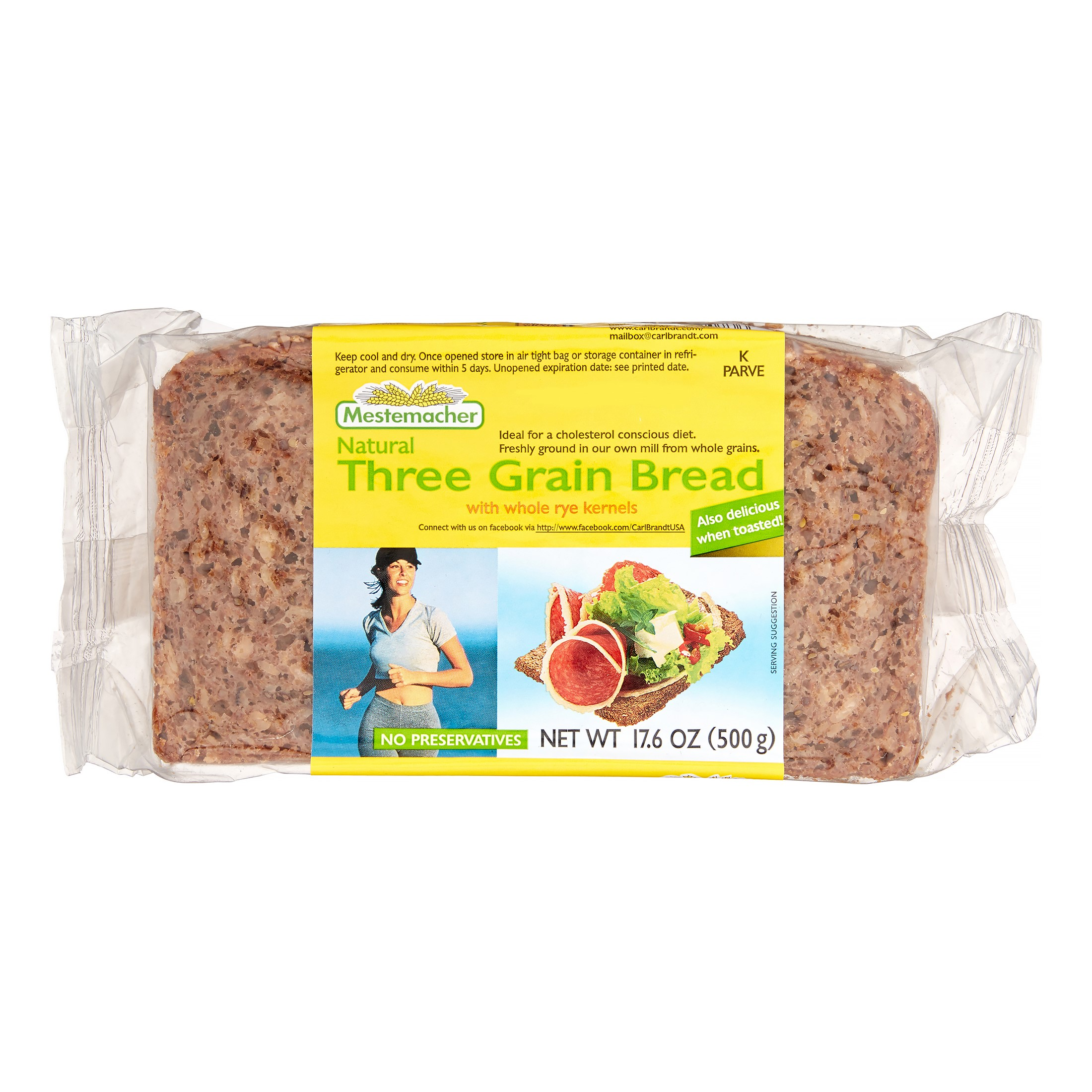 Mestemacher Natural Three Grain Bread, 17.6 Oz