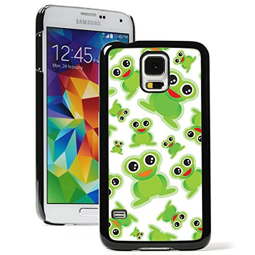 Samsung Galaxy (S5 Active) Hard Back Case Cover Cute Green Cartoon Frogs Pattern (Black)