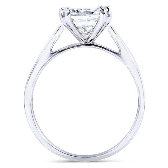 Cushion-cut Moissanite Solitaire Engagement Ring 2 CTW 14k White Gold
